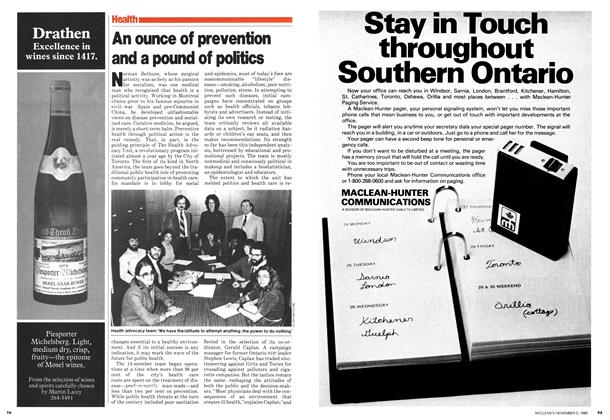 Article Preview: An ounce of prevention and a pound of politics, November 1980 | Maclean's