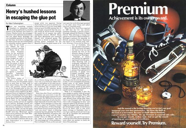 Article Preview: Henry's hushed lessons in escaping the glue pot, November 1980 | Maclean's