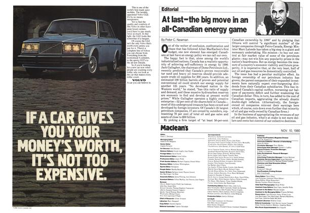 Article Preview: At last-the big move in an al-Canadian energy game, November 1980 | Maclean's