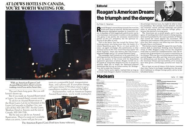 Article Preview: Reagan's American Dream: the triumph and the danger, November 1980 | Maclean's