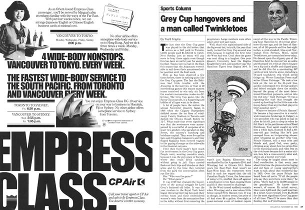 Article Preview: Grey Cup hangovers and a man called Twinkletoes, November 1980 | Maclean's