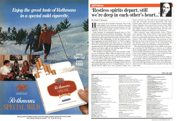 Article Preview: 'Restless spirits depart, still we're deep in each other's heart...', December 1980 | Maclean's