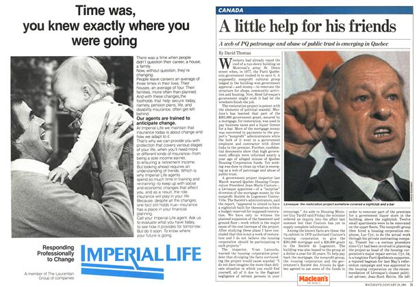 Article Preview: A little help for his friends, January 1981 | Maclean's
