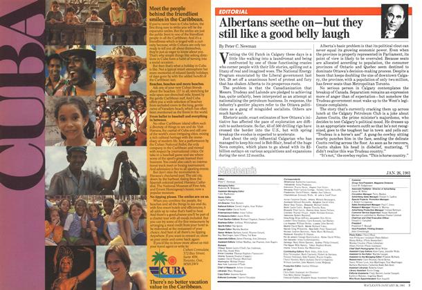 Article Preview: Albertans seethe on—but they still like a good belly laugh, January 1981 | Maclean's
