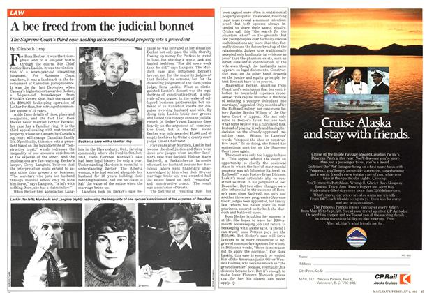 Article Preview: A bee freed from the judicial bonnet, February 1981 | Maclean's