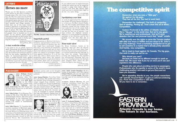 Article Preview: LETTERS, February 1981 | Maclean's