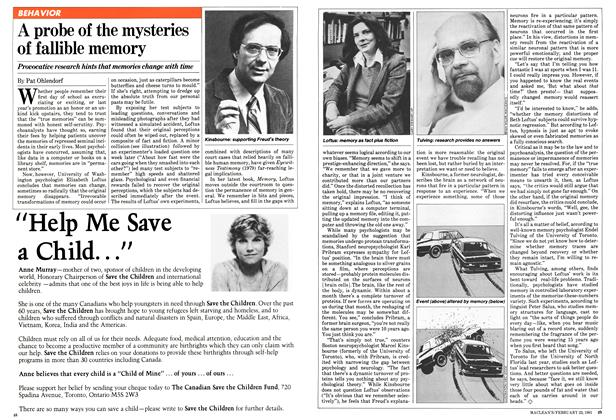 Article Preview: A probe of the mysteries of fallible memory, February 1981 | Maclean's
