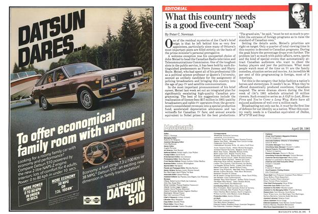 Article Preview: What this country needs is a good five-cent 'Soap', April 1981 | Maclean's