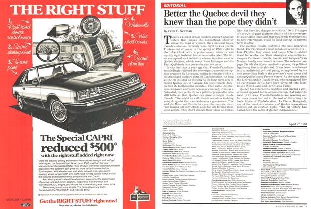 Article Preview: Better the Quebec devil they knew than the pope they didn't, April 1981 | Maclean's