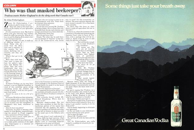 Article Preview: Who was that masked beekeeper?, April 1981 | Maclean's