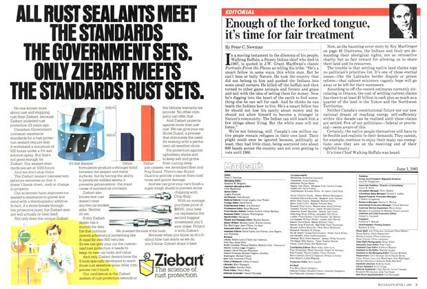 Article Preview: Enough of the forked tongue, it's time for fair treatment, June 1981 | Maclean's
