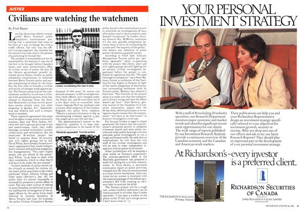 Article Preview: Civilians are watching the watchmen, August 1981 | Maclean's