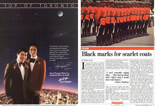 Article Preview: Black marks for scarlet coats, September 1981 | Maclean's