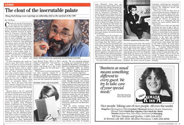 Article Preview: The clout of the inscrutable palate, September 1981 | Maclean's