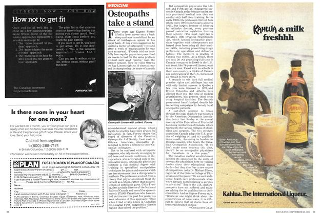 Article Preview: Osteopaths take a stand, September 1981 | Maclean's