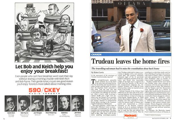 Article Preview: Trudeau leaves the home fires, October 1981 | Maclean's