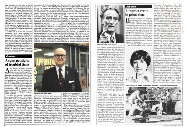 Article Preview: Anglos get signs of troubled times, October 1981 | Maclean's