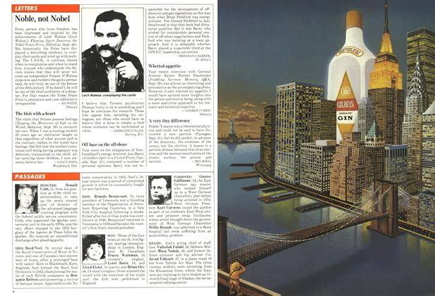 Article Preview: LETTERS, October 1981 | Maclean's