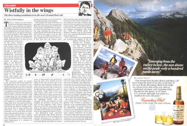 Article Preview: Wistfully in the wings, October 1981 | Maclean's