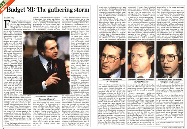 Article Preview: Budget '81: The gathering storm, November 1981 | Maclean's
