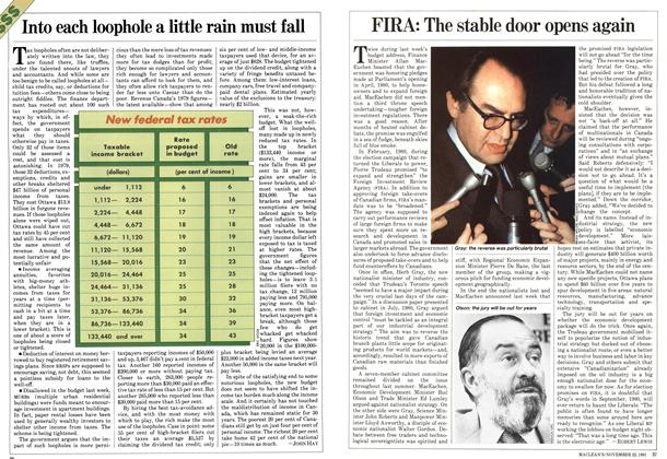 Article Preview: Into each loophole a little rain must fall, November 1981 | Maclean's