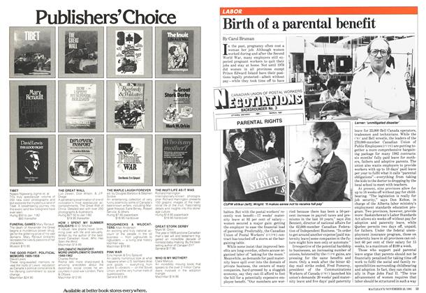 Article Preview: Birth of a parental benefit, November 1981 | Maclean's