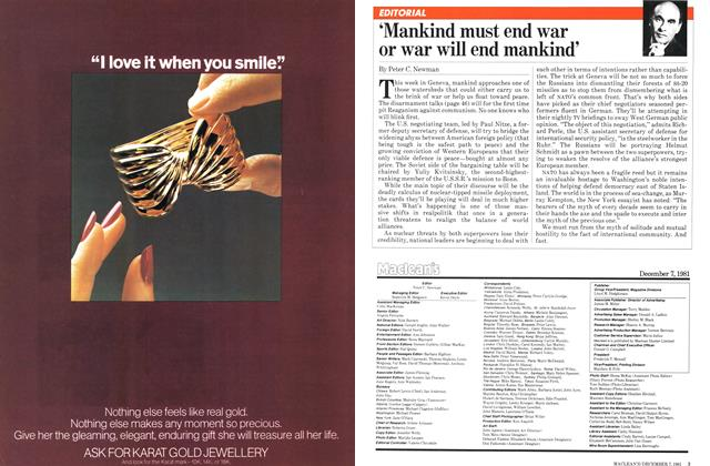 Article Preview: 'Mankind must end war or war will end mankind', December 1981 | Maclean's