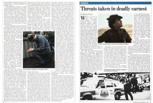 Article Preview: Threats taken in deadly earnest, December 1981 | Maclean's