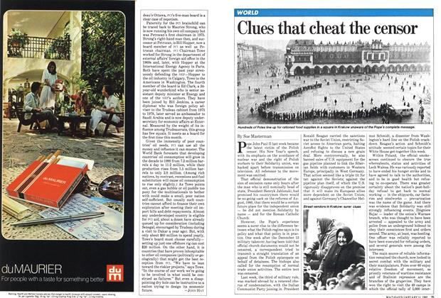 Article Preview: Clues that cheat the censor, January 1982 | Maclean's
