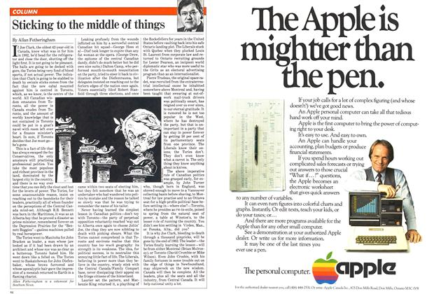 Article Preview: Sticking to the middle of things, January 1982 | Maclean's