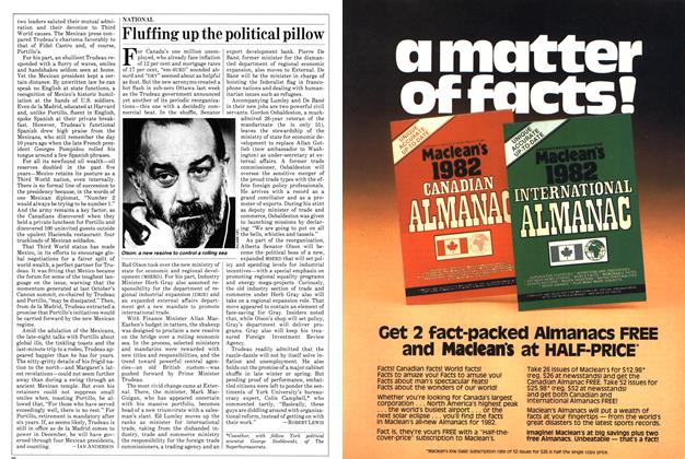 Article Preview: Fluffing up the political pillow, January 1982 | Maclean's