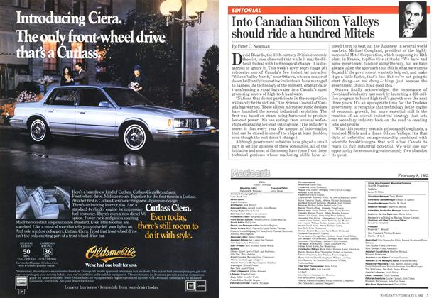 Article Preview: Into Canadian Silicon Valleys should ride a hundred Mitels, February 1982 | Maclean's