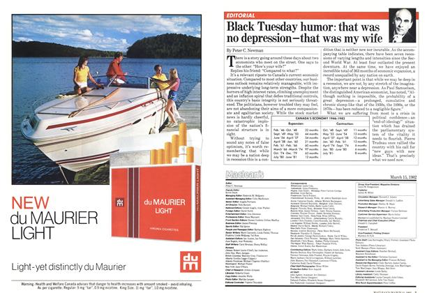 Article Preview: Black Tuesday humor: that was no depression-that was my wife, March 1982 | Maclean's
