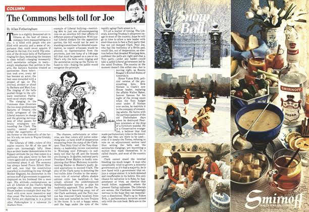 Article Preview: The Commons bells toll for Joe, March 1982 | Maclean's