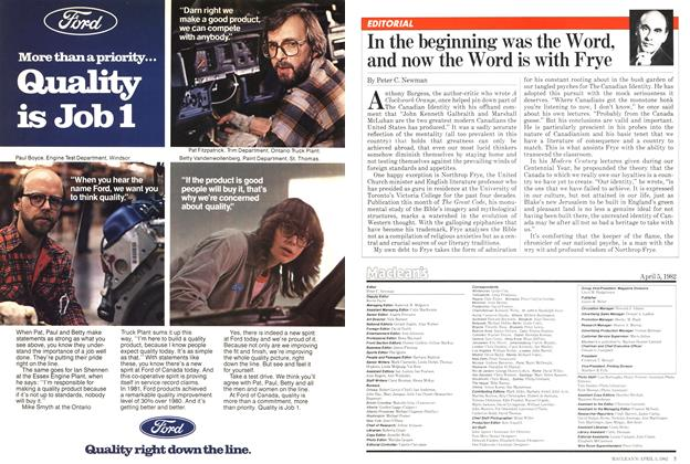 Article Preview: In the beginning was the Word, and now the Word is with Frye, April 1982   Maclean's