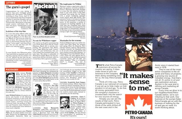 Article Preview: LETTERS, April 1982   Maclean's