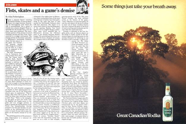 Article Preview: Fists, skates and a game's demise, April 1982   Maclean's