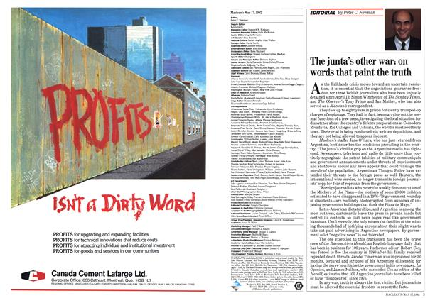 Article Preview: The junta's other war? on words that paint the truth, May 1982 | Maclean's