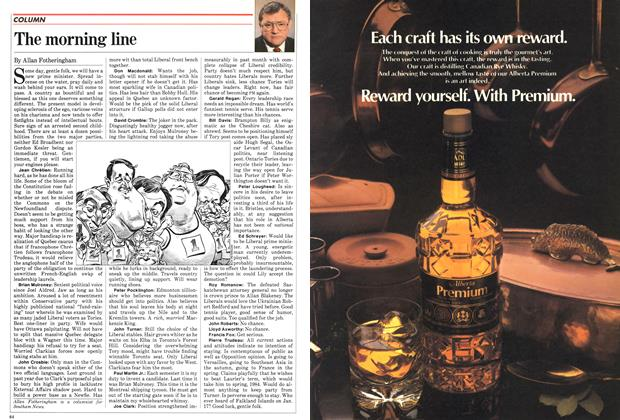 Article Preview: The morning line, June 1982 | Maclean's