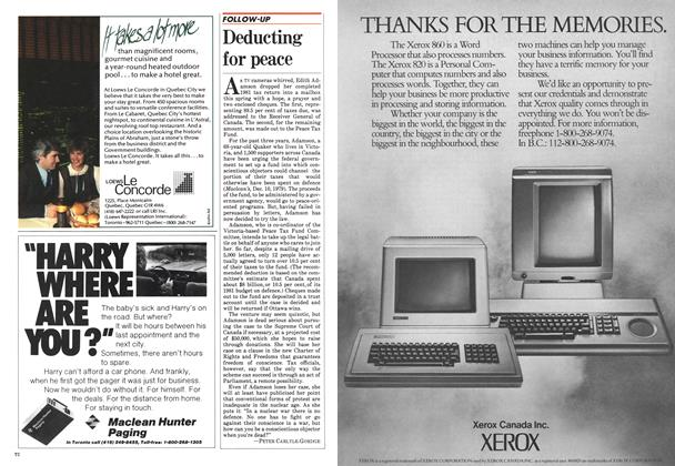 Article Preview: Deducting for peace, June 1982   Maclean's