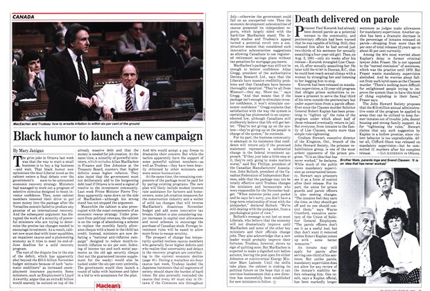 Article Preview: Black humor to launch a new campaign, June 1982 | Maclean's