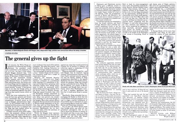 Article Preview: The general gives up the fight, July 1982 | Maclean's