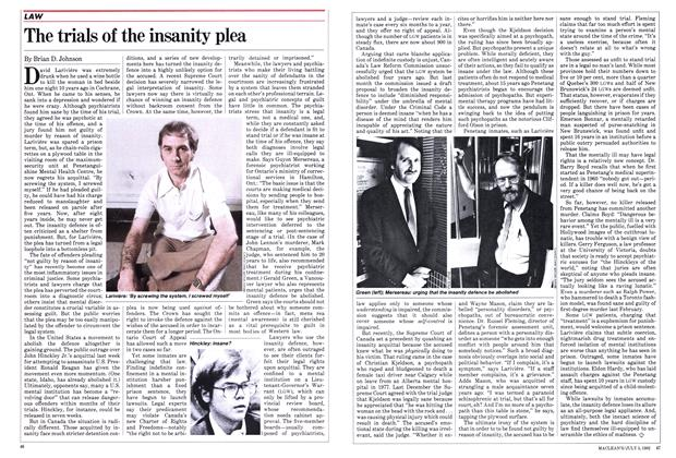 Article Preview: The trials of the insanity plea, July 1982   Maclean's
