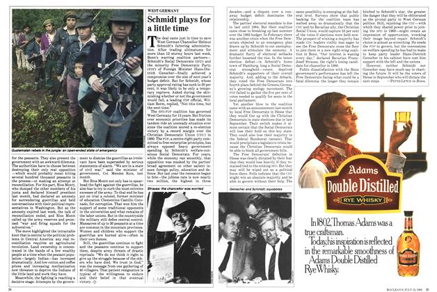 Article Preview: Schmidt plays for a little time, July 1982 | Maclean's
