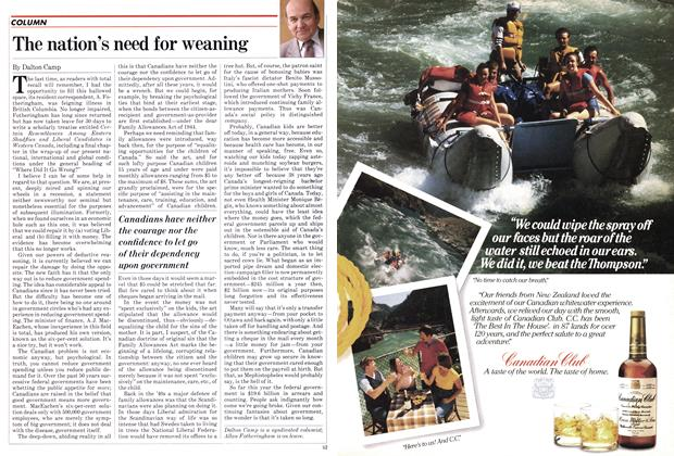 Article Preview: The nation's need for weaning, July 1982 | Maclean's