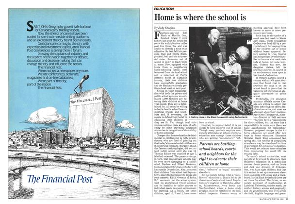 Article Preview: Home is where the school is, July 1982 | Maclean's