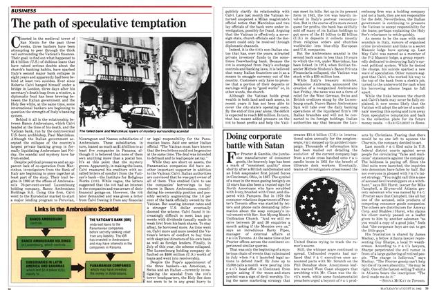 Article Preview: Doing corporate battle with Satan, August 1982 | Maclean's
