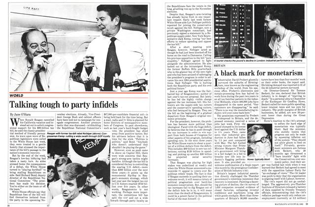 Article Preview: Talking tough to party infidels, August 1982 | Maclean's