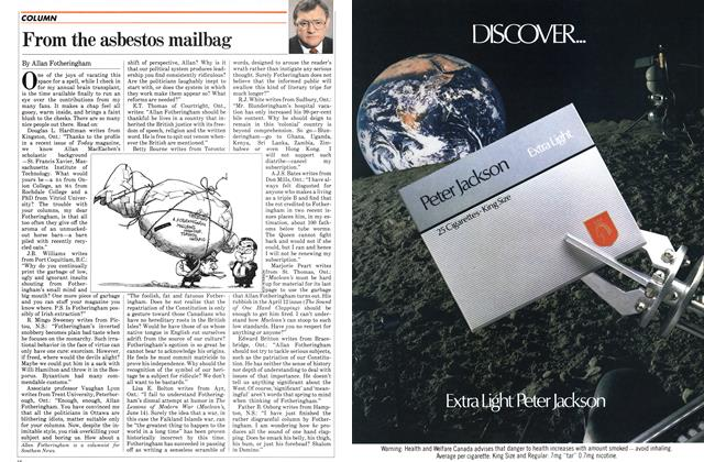Article Preview: From the asbestos mailbag, August 1982 | Maclean's