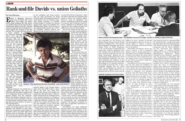 Article Preview: Rank-and-file Davids vs. union Goliaths, August 1982 | Maclean's